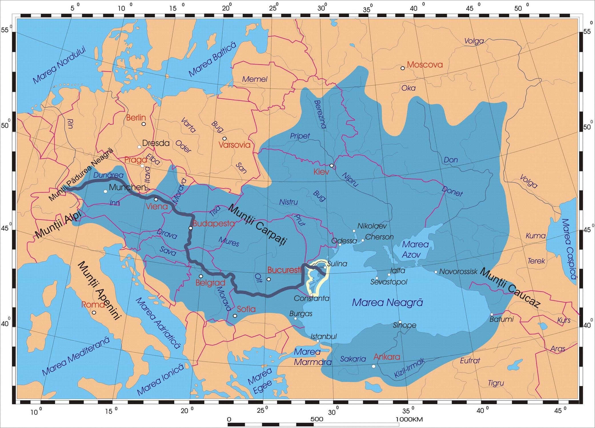 Harta cu bazinul hidrografic al Dunarii